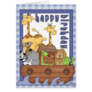 Carte de joyeux anniversaire de garçon d'animaux