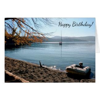 Carte de joyeux anniversaire de plage de voilier