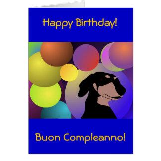 Carte de joyeux anniversaire de teckel de Bicontin