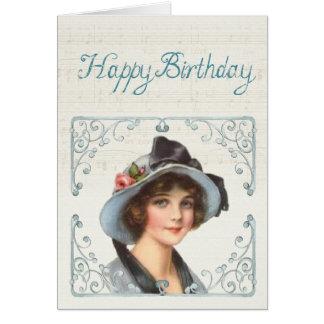 Carte de joyeux anniversaire : Jeune Madame et une