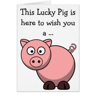 Carte de joyeux anniversaire : Porc chanceux