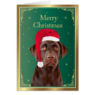 Carte de Joyeux Noël de chien de labrador
