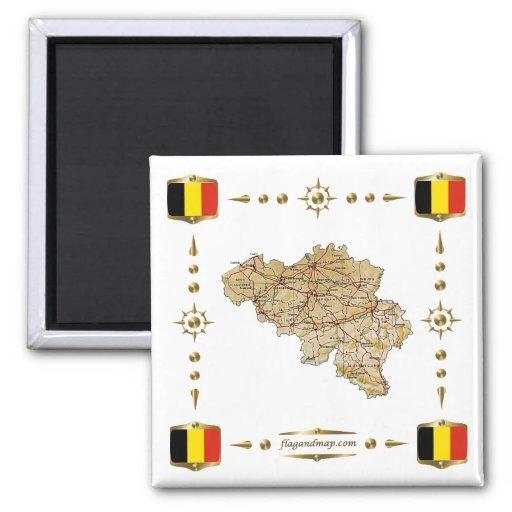 Carte de la Belgique + Aimant de drapeaux
