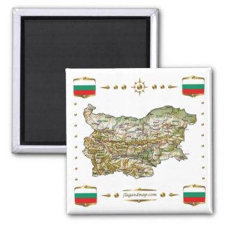 Carte de la Bulgarie + Aimant de drapeaux