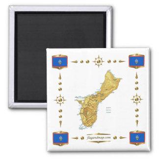 Carte de la Guam + Aimant de drapeaux