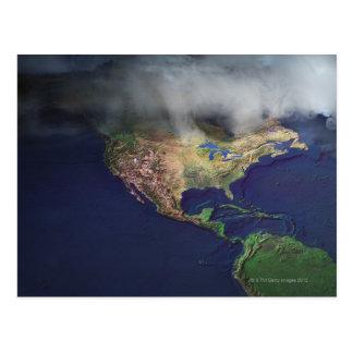 Carte de l'Amérique du Nord avec le brouillard