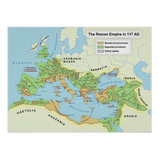 Carte de l'ampleur maximum de l'empire romain