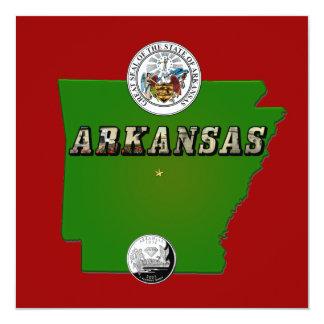 Carte de l'Arkansas, joint et quart d'état Carton D'invitation 13,33 Cm
