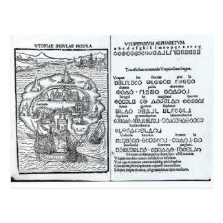 Carte de l'île d'Utopie et de son alphabet