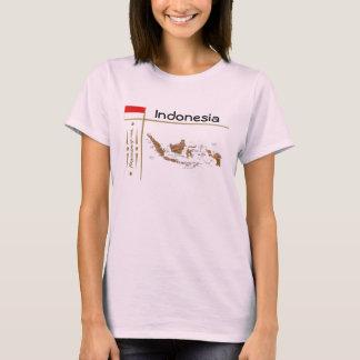 Carte de l'Indonésie + Drapeau + T-shirt de titre