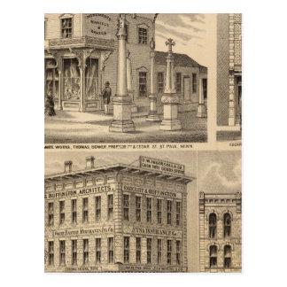 Carte de lithographie de St Paul, Minneapolis,