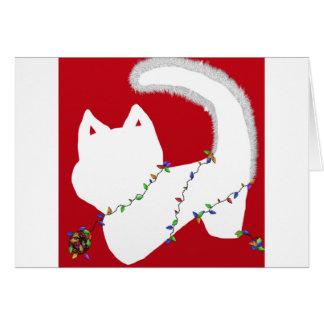 Carte de lumières de Noël de jour avec le chaton