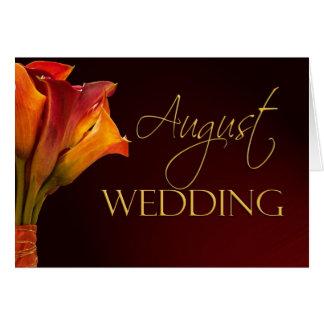 Carte de mariage de zantedeschia d'août