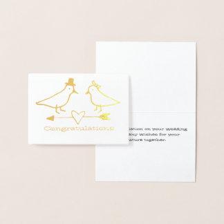 Carte de mariage d'oiseaux de jeunes mariés mini