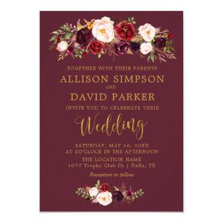 Carte de mariage élégante de marine florale de