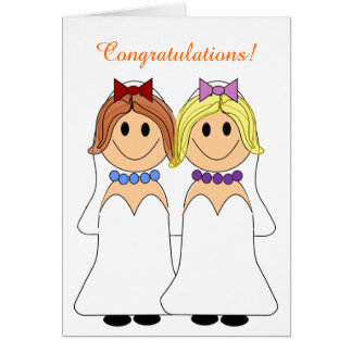 Carte de mariage lesbienne de jeunes mariées