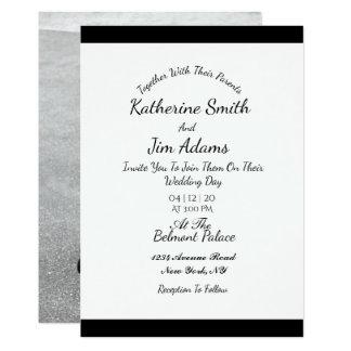 Carte de mariage noire et blanche de photo