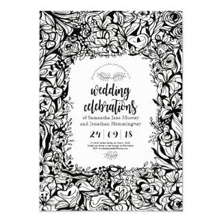 Carte de mariage noire et blanche florale de carton d'invitation  12,7 cm x 17,78 cm