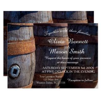 Carte de mariage rustique de baril de vin de carton d'invitation 8,89 cm x 12,70 cm
