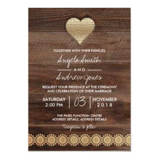 Carte de mariage rustique de coeur d'or du mariage carton d'invitation  12,7 cm x 17,78 cm