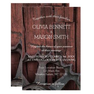 Carte de mariage rustique élégante de roues de carton d'invitation 8,89 cm x 12,70 cm