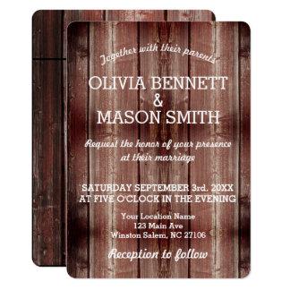 Carte de mariage texturisée rustique de porte de carton d'invitation  12,7 cm x 17,78 cm