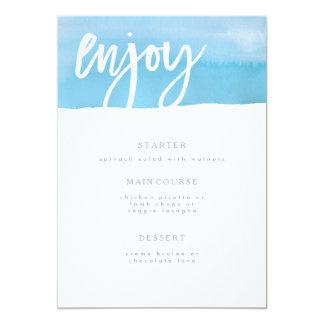 Carte Carte de menu de mariage, aquarelle bleue