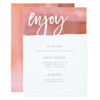 Carte Carte de menu de mariage, corail, aquarelle rose