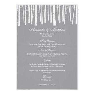 Carte de menu de mariage de forêt d'hiver carton d'invitation  12,7 cm x 17,78 cm