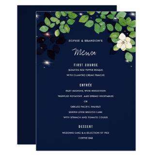 Carte de menu de mariage de jardin de magnolia de