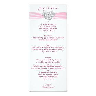 Carte de menu de mariage de rose de coeur de carton d'invitation  10,16 cm x 23,49 cm