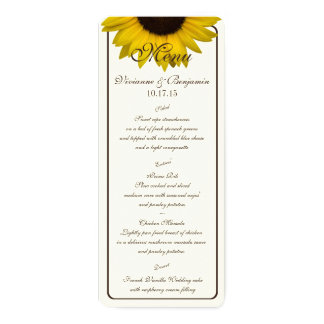 Carte de menu de tournesol de pays carton d'invitation  10,16 cm x 23,49 cm
