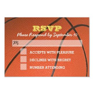 Carte de Mitzvah RSVP de barre d'or de basket-ball