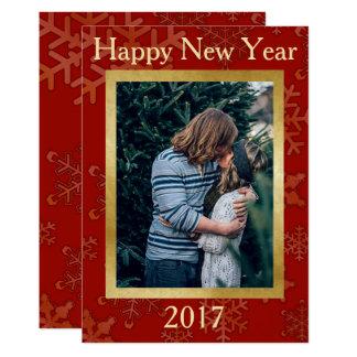 Carte de modèle de flocon de neige de bonne année carton d'invitation  12,7 cm x 17,78 cm