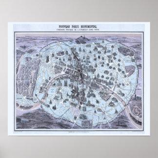Carte de monument de Paris avec la princesse Poster