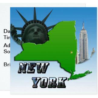 Carte de New York, statue de la liberté, monument