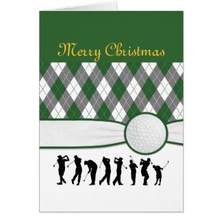 Carte de Noël à motifs de losanges de plaid.