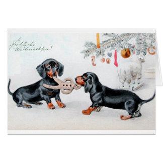 Carte de Noël allemande vintage de teckel