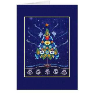 Carte de Noël anglaise de rétro polonais de