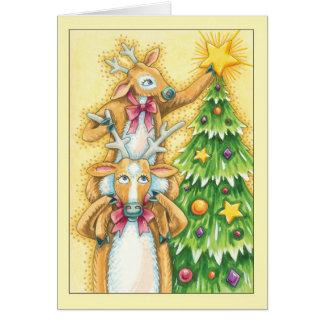 Carte de Noël avec des paires mignonnes de mise de