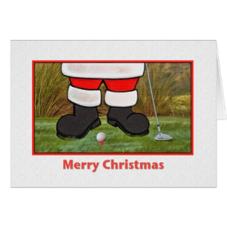 Carte de Noël avec jouer au golf Père Noël