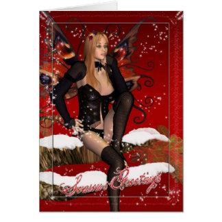 Carte de Noël avec la neige féerique magique