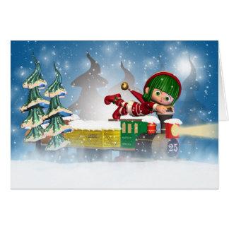Carte de Noël avec le petit elfe mignon sur le