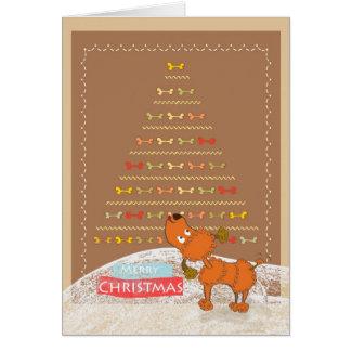 carte de Noël brune mignonne de caniche