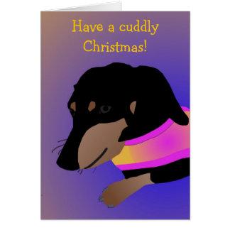 Carte de Noël câline de teckel