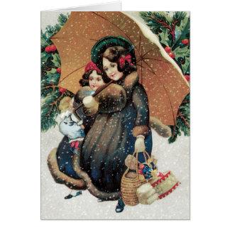 Carte de Noël - carte adorable de fille de mère