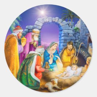 Carte de Noël chrétienne Sticker Rond