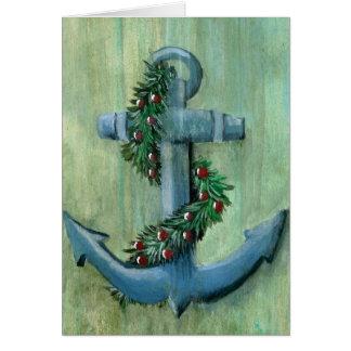 Carte de Noël d'ancre et de guirlande