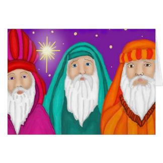 Carte de Noël d'aquarelle de trois sages