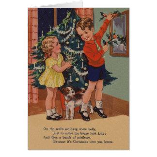 Carte de Noël de base vintage de style de lecteur
